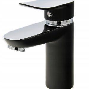 Bateria kran umywalkowa SKYLL czarna gładka chrom
