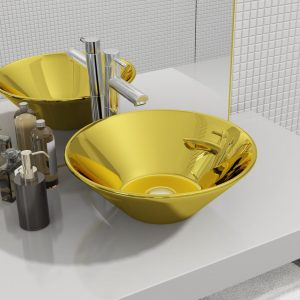 Kolorowe umywalki.